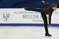 January 17, 2018 - Moscow, Russia - Figure skater Igor Reznichenko of Poland performs his short program during a men's singles competition at the 2018 ISU European Figure Skating Championships, at Megasport Arena in Moscow, Russia  on January 17, 2018. (Credit Image: © Igor Russak/NurPhoto via ZUMA Press)