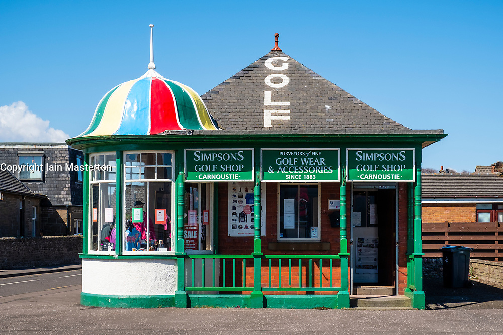Exterior view of historic Simpsons Golf Shop beside Carnoustie Golf Links (course) in Carnoustie, Angus, Scotland, United Kingdom