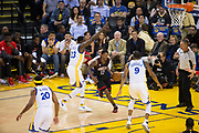 Houston Rockets guard Lou Williams (12) takes the ball to the basket against the Golden State Warriors at Oracle Arena in Oakland, Calif., on March 31, 2017. (Stan Olszewski/Special to S.F. Examiner)