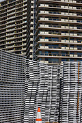 Philadelphia, Pennsylvania - September 16, 2015: Stacked stage flooring slats sit in front of an apartment building close to where construction is underway for the Pope's visit to Philadelphia.<br /> <br /> Scott Mirkin's company ESM is heading the production of The World Meeting Of Families and Pope Francis's visit to Philadelphia this Fall. The events will take place along the Benjamin Franklin Parkway.<br /> <br /> CREDIT: Matt Roth for The New York Times<br /> Assignment ID: 30179397A