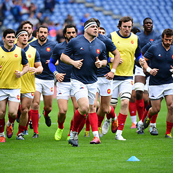 Guilhem Guirado of France leads his side in the warm up before the Guinness Six Nations match between Italy and France on March 16, 2019 in Rome, Italy. (Photo by Dave Winter/Icon Sport)
