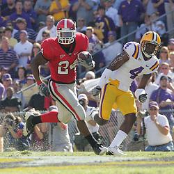25 October 2008:  Georgia running back Knowshon Moreno (24) runs as LSU cornerback Jai Eugene (4) pursues during the Georgia Bulldogs 52-38 victory over the LSU Tigers at Tiger Stadium in Baton Rouge, LA.