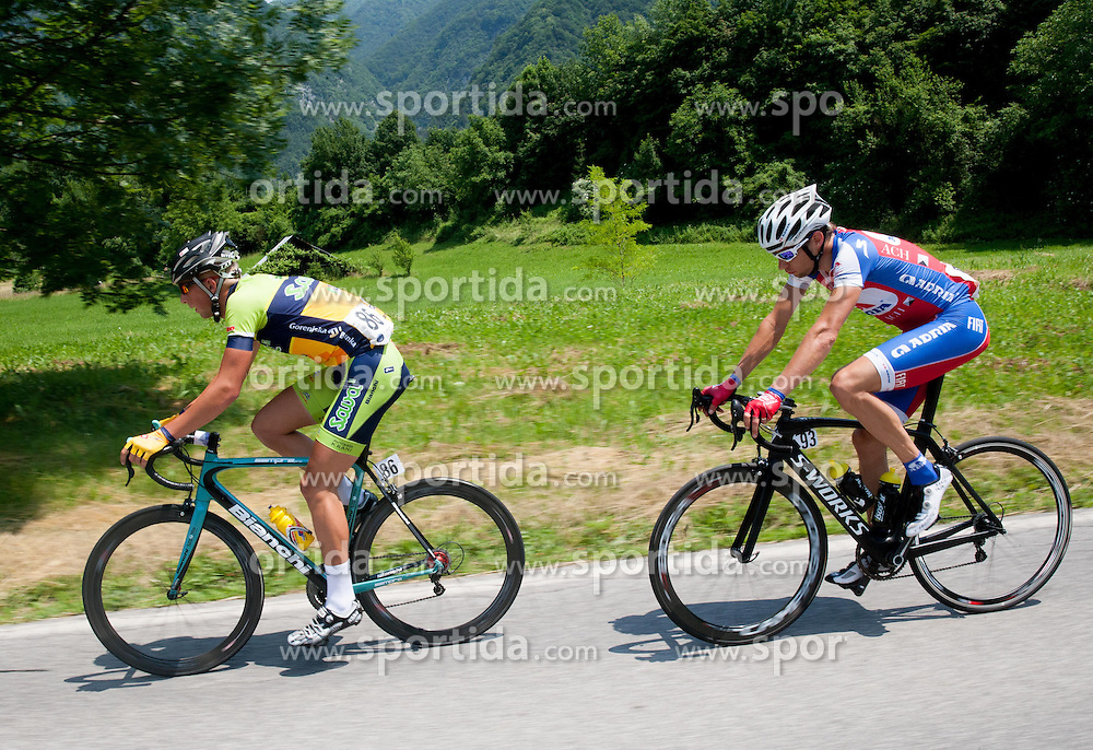 Jure Bitenc (SLO) of Sava AND Matej Mugerli (SLO) of Adria Mobil during Stage 3 from Skofja Loka to Vrsic (170 km) of cycling race 20th Tour de Slovenie 2013,  on June 15, 2013 in Slovenia. (Photo By Vid Ponikvar / Sportida)