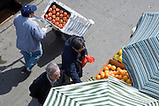 overhead view of a fruit and vegetable stand New York City China town