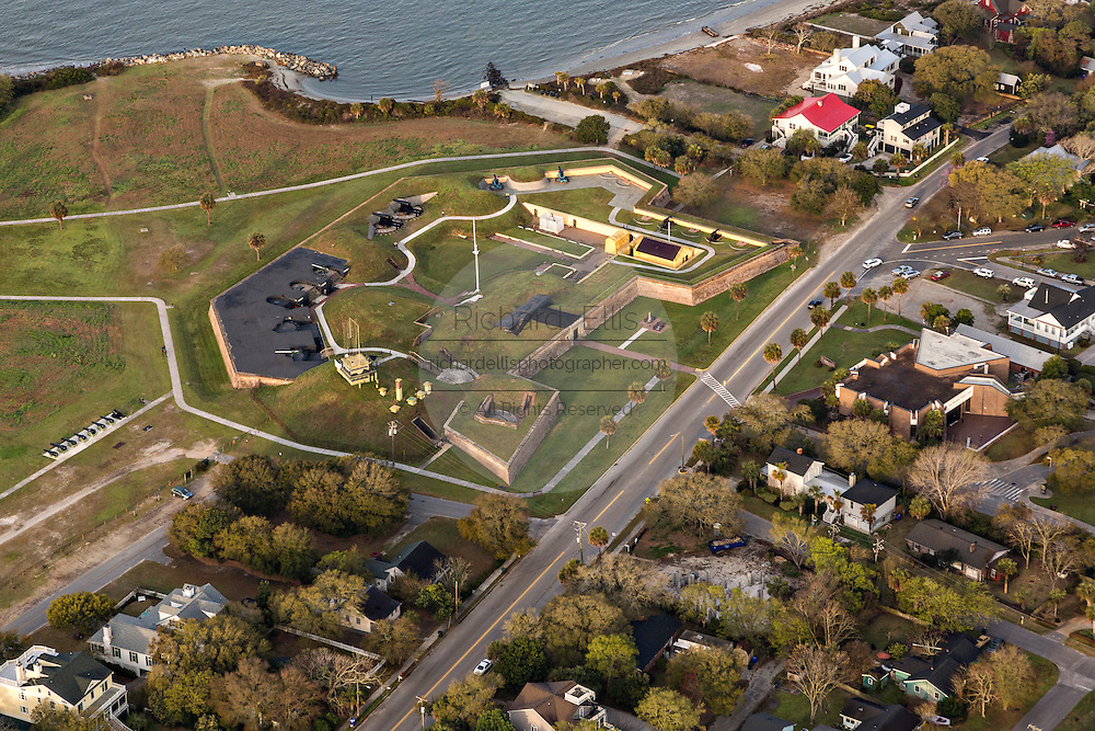 Aerial view of historic Fort Moultrie on Sullivan's Island, SC.
