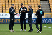 Derby players walking on the pitch during the Sky Bet Championship match between Wolverhampton Wanderers and Derby County at Molineux, Wolverhampton, England on 27 February 2016. Photo by Alan Franklin.