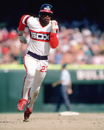 CHICAGO - 1985:  Rudy Law of the Chicago White Sox runs the bases during an MLB game at Comiskey Park in Chicago, Illinois during the 1985 season . (Photo by Ron Vesely)  Subject:   Richard Dotson