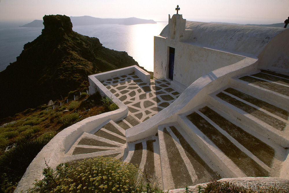 Church staircase on Santorini