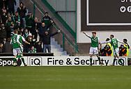 4th November 2017, Easter Road, Edinburgh, Scotland; Scottish Premiership football, Hibernian versus Dundee; Hibernian's Simon Murray celebrates after scoring for 2-1