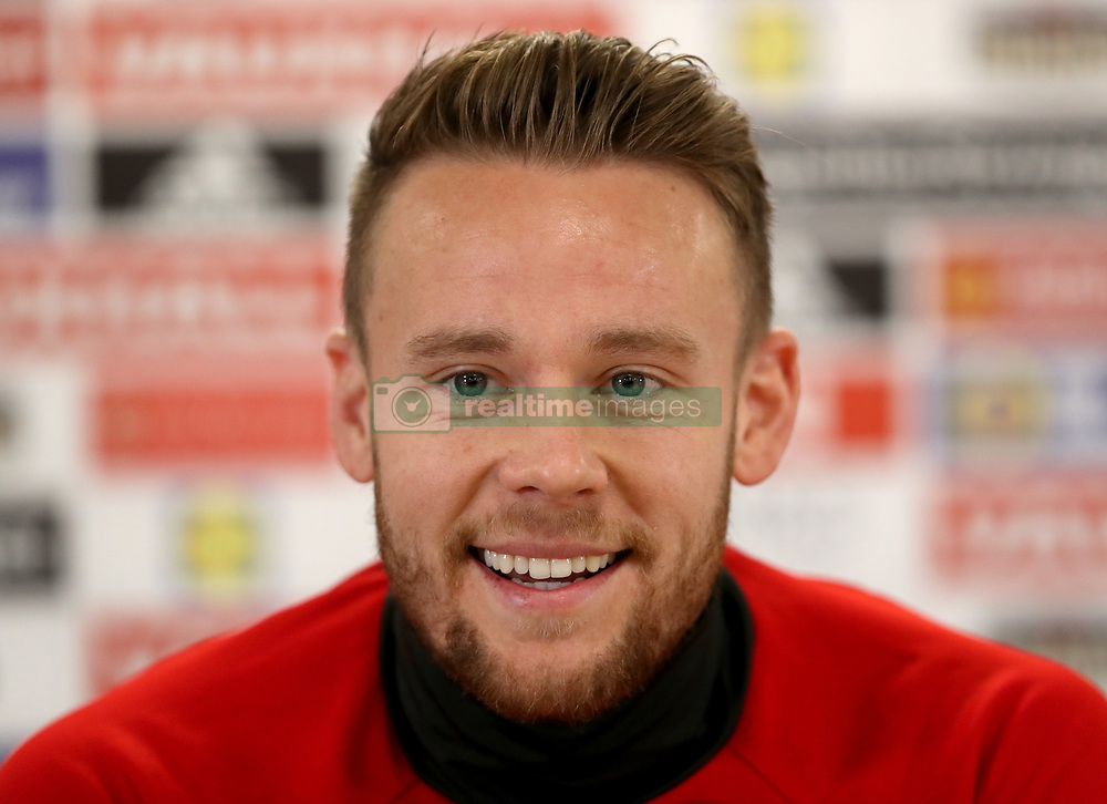 Wales' Chris Gunter during a press conference at the Cardiff City Stadium, Cardiff.