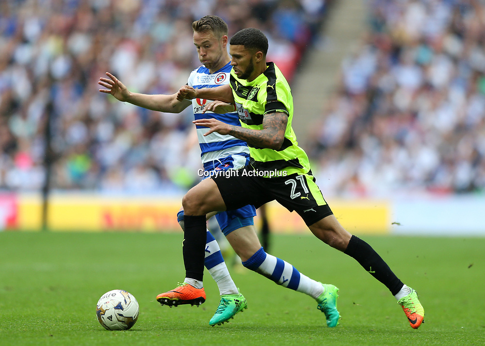 May 29th 2017, Wembley Stadium, London, England; EFL Championship playoff final, Huddersfield Town versus Reading; Nahki Wells of Huddersfield Town being intercepted by Chris Gunter of Reading