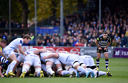 George Ford of Bath Rugby watches a scrum - Mandatory byline: Patrick Khachfe/JMP - 07966 386802 - 17/10/2015 - RUGBY UNION - The Recreation Ground - Bath, England - Bath Rugby v Exeter Chiefs - Aviva Premiership.