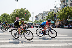 Alexandra Manly (AUS) and Gabrielle Pilote Fortin (CAN) at Tour of Chongming Island 2019 - Stage 2, a 126.6 km road race from Changxing Island to Chongming Island, China on May 10, 2019. Photo by Sean Robinson/velofocus.com