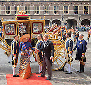 The Hague , 20-09-2016<br /> <br /> Opening parliamentary year of The Netherlands .<br /> <br /> Arrival King Willem-Alexander and Queen Maxima withfor the first time the Glass Carriage at the Hall of Knights in The Hague.<br /> <br /> <br /> Royalportraits Europe/Bernard Ruebsamen