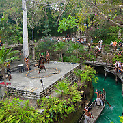 Mayan representation on outdoor stage at Xcaret park. Quintana Roo. Mexico.