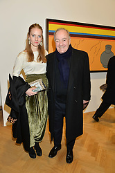 LORD PALUMBO and his daughter the HON.PETRA PALUMBO at the opening private view of 'A Strong Sweet Smell of Incense - A portrait of Robert Fraser, held at the Pace Gallery, Burlington Gardens, London on 5th February 2015.