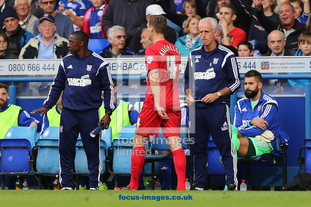 Manager of Ipswich Town, Mick McCarthy looks toward Matthew Kilgallon of Blackburn Rovers after being shown a Red card for a foul on Conor Sammon of Ipswich Town during the Sky Bet Championship match at Portman Road, Ipswich<br /> Picture by Richard Calver/Focus Images Ltd +447792 981244<br /> 18/10/2014