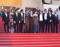 The cast including Actors Pedro Queiroz, Allan Souza, Maeve Jinkings, Sonia Braga, Emilie Lesclaux, director Kleber Mendonca Filho and actor Humberto Carrao at the gala screening for the film Aquarius at the 69th Cannes Film Festival, Tuesday 17th May 2016, Cannes, France. Photography: Doreen Kennedy