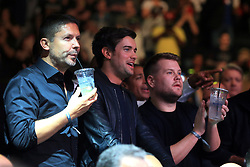 (From left to right) Sky Sports managing director Barney Francis, Jack Whitehall and James Corden at Madison Square Garden, New York.