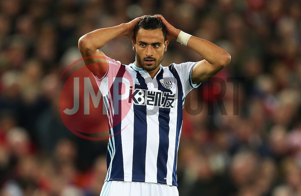 Nacer Chadli of West Brom shows a look of dejection - Mandatory by-line: Matt McNulty/JMP - 22/10/2016 - FOOTBALL - Anfield - Liverpool, England - Liverpool v West Bromwich Albion - Premier League