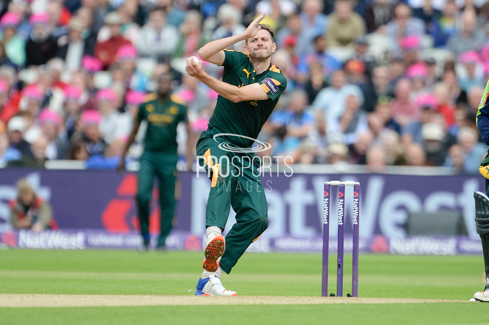 Harry Gurney of Notts Outlaws bowling during the NatWest T20 Blast Semi Final match between Nottinghamshire County Cricket Club and Northamptonshire County Cricket Club at Edgbaston, Birmingham, United Kingdom on 20 August 2016. Photo by David Vokes.