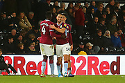 Aston Villa midfielder Conor Hourihane (14) celebrates a goal during the EFL Sky Bet Championship match between Derby County and Aston Villa at the Pride Park, Derby, England on 10 November 2018.