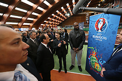 "29.03.2016, Paris, FRA, UEFA Euro, Hollande, 11 Tricolore, La France au rendez vous, im Bild der Staatspräsident der Französischen Republik Francois Hollande, riner (teddy) // during a visit at the INSEP or French National Institute of Sport and Physical Education, as part of the event ""11 Tricolore, La France au rendez- vous"" in Paris, France on 2016/03/29. EXPA Pictures © 2016, PhotoCredit: EXPA/ Pressesports/ Laurent Argueyrolles<br /> <br /> *****ATTENTION - for AUT, SLO, CRO, SRB, BIH, MAZ, POL only*****"