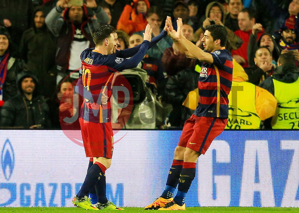 Neymar of Barcelona celebrates the opening goal with Messi and Suarez - Mandatory byline: Matt McNulty/JMP - 16/03/2016 - FOOTBALL - Nou Camp - Barcelona,  - FC Barcelona v Arsenal - Champions League - Round of 16