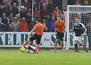 James McPake tackles Dundee United&rsquo;s John Rankin in the incident which led to the acting Dundee captain sustaining a serious injury - Dundee v Dundee United, Ladbrokes Premiership at Dens Park<br /> <br />  - &copy; David Young - www.davidyoungphoto.co.uk - email: davidyoungphoto@gmail.com