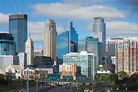 View into the downtown of Minneapolis, Minnesota from 35W looking north to the city.