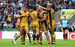 Bristol Rugby celebrate Tusi Pisi scoring a try - Mandatory by-line: Robbie Stephenson/JMP - 03/09/2016 - RUGBY - Twickenham - London, England - Harlequins v Bristol Rugby - Aviva Premiership London Double Header