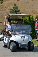 KELOWNA, CANADA - JULY 21: Shea Weber shares a cart with Josh Gorges at the Kelowna Rockets Alumni golf tournament at Black Mountain Golf Club in Kelowna, British Columbia, Canada.  (Photo by Marissa Baecker/Shoot the Breeze)  *** Local Caption ***