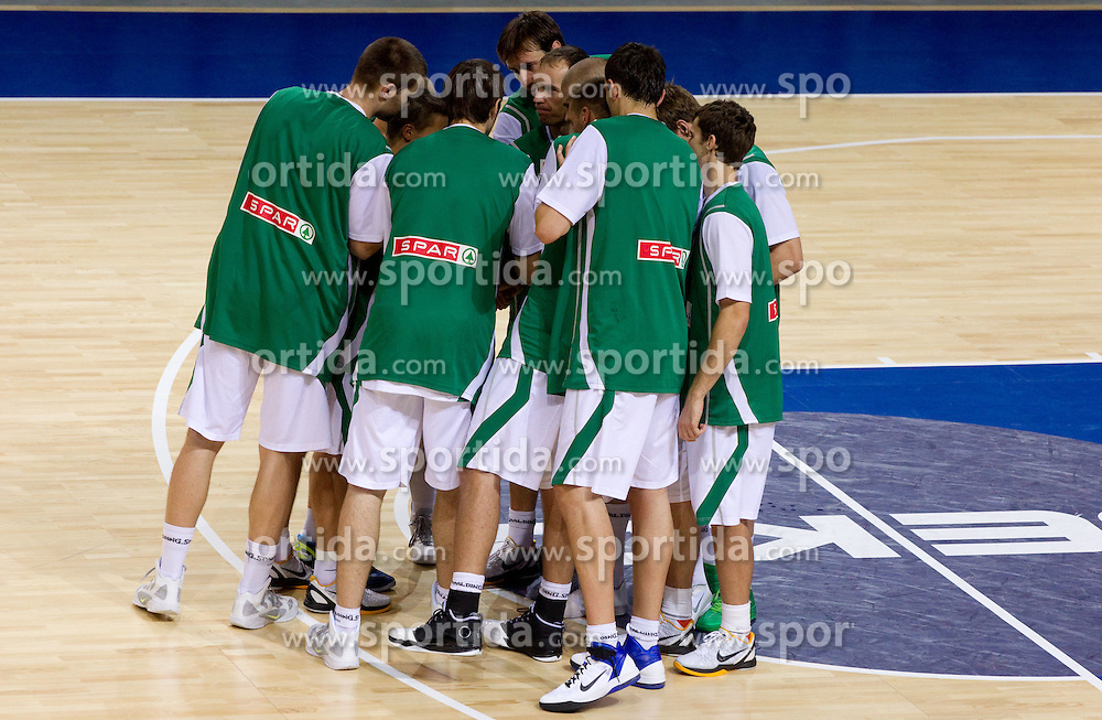 Players of Slovenia prior to the basketball match between National teams of Slovenia and Georgia in Group D of Preliminary Round of Eurobasket Lithuania 2011, on September 3, 2011, in Arena Svyturio, Klaipeda, Lithuania. Slovenia defeated Georgia 87-75. (Photo by Vid Ponikvar / Sportida)