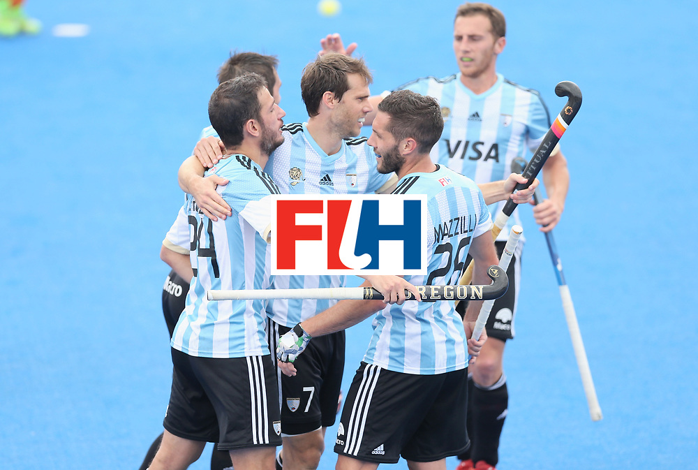 LONDON, ENGLAND - JUNE 24:  Manuel Brunet of Argentina celebrates scoring their teams second goal with teammates during the semi-final match between Argentina and Malaysia on day eight of the Hero Hockey World League Semi-Final at Lee Valley Hockey and Tennis Centre on June 24, 2017 in London, England.  (Photo by Alex Morton/Getty Images)
