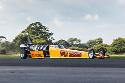 © Licensed to London News Pictures. 19/09/2015. York, UK. Picture shows the Split Second jet car driven by Julian Webb at the Starightliners speed weekend that has taken place at Elvington Airfield near York today were a motorised shed, Jet car & motorbikes attempt new British speed records. Photo credit: Andrew McCaren/LNP