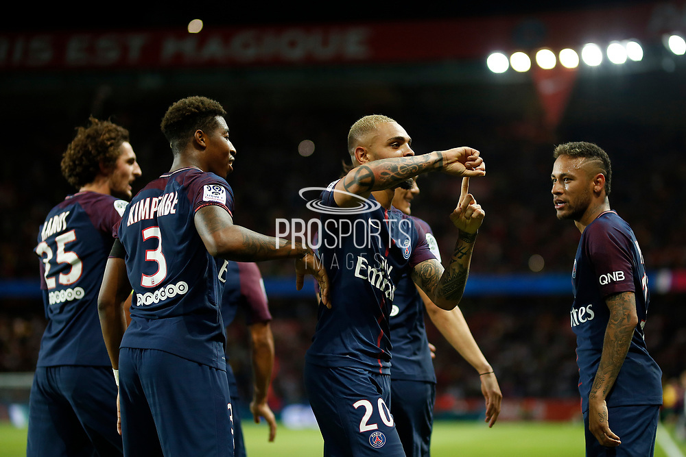 Paris Saint-Germain's French defender Layvin Kurzawa celebrates after scoring during the French championship L1 football match between Paris Saint-Germain (PSG) and Toulouse, on August 20, 2017, at the Parc des Princes, in Paris, France - Photo Benjamin Cremel / ProSportsImages / DPPI