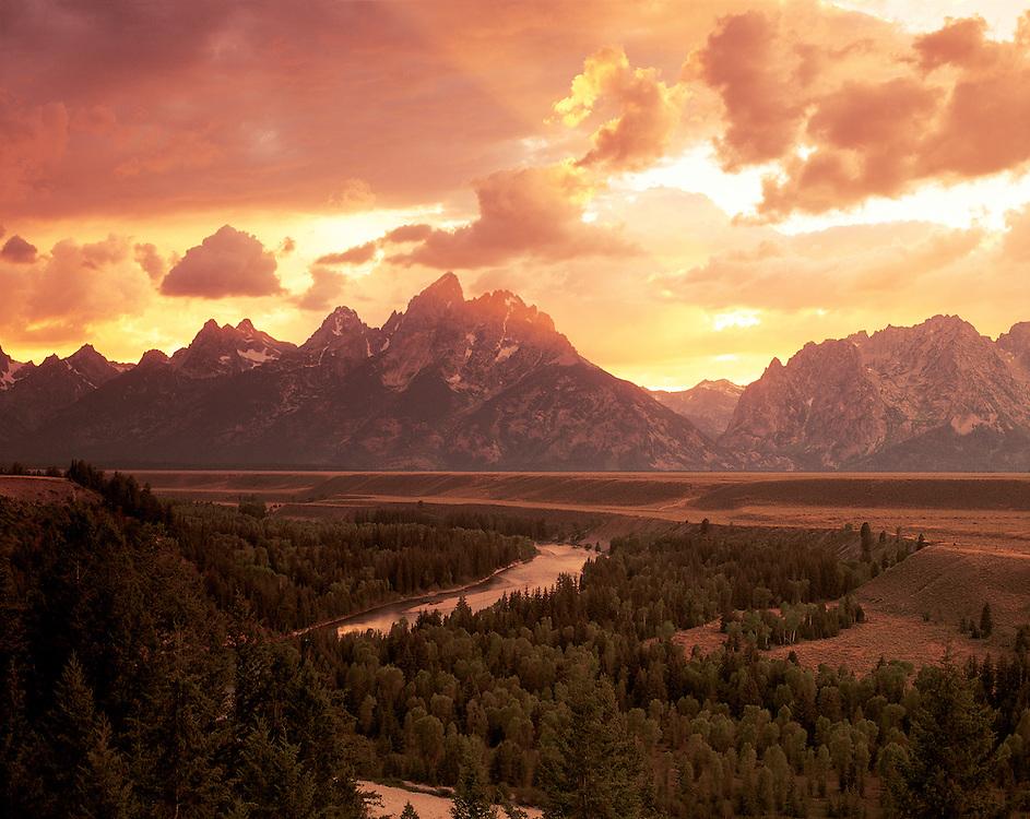 Wyoming, Teton Mountain Range and Snake River Sunset, in Grand Teton National Park, establsihed 1929