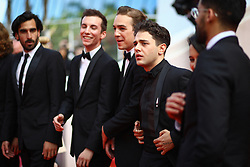 Nancy Grant, Samuel Gauthier, Gabriel D'Almeida Freitas, Pier-Luc Funk, Antoine Pilon, Xavier Dolan, Catherine Brunet and Adib Alkhalidey depart the screening of Matthias Et Maxime (Matthias and Maxime) during the 72nd annual Cannes Film Festival on May 22, 2019 in Cannes, France. Photo by Shootpix/ABACAPRESS.COM