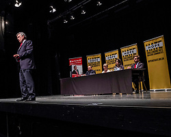 Pictured: Gordon Brown<br /><br />Former Prime Minister Gordon Brown joined Scottish Labour MP Ian Murray; Scottish Labour MSP Daniel Johnson; Elaine Motion of legal firm Balfour+Manson who represents 78 MPs and peers in the prorogue petition; and Louise Gilmour, GMB Scotland senior organiser in manufacturing. at the Churh Hill Theatre in Edinburgh today for a 'No to No-Deal Rally' with campaign group 'HOPE not hate' and GMB Scotland.<br /><br />Ger Harley   EEm 12 September 2019