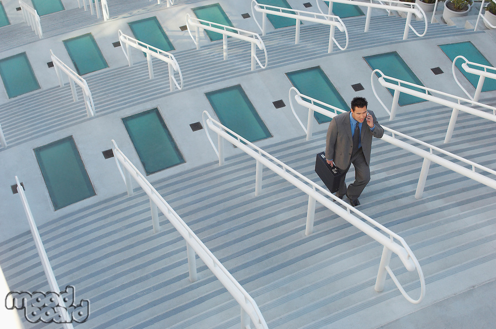 Businessman walking up stairs, elevated view
