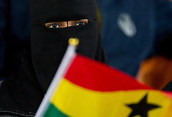 Muslim Fan of Ghana prior to the 2010 FIFA World Cup South Africa Quarter Finals football match between Uruguay and Ghana on July 02, 2010 at Soccer City Stadium in Sowetto, suburb of Johannesburg. Uruguay defeated Ghana after penalty shots. (Photo by Vid Ponikvar / Sportida)