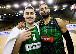 Roko Badzim of Petrol Olimpija and Devin Oliver of Petrol Olimpija celebrate after winning during basketballl match between KK Petrol Olimpija Ljubljana and KK Partizan NIS mts in Round #20 of ABA League 2017/18, on February 10, 2018 in Tivoli sports hall, Ljubljana, Slovenia. Photo by Vid Ponikvar / Sportida