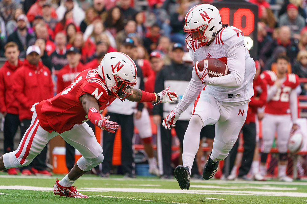during Nebraska's annual Spring Game at Memorial Stadium in Lincoln, Neb., on April 21, 2018. © Aaron Babcock
