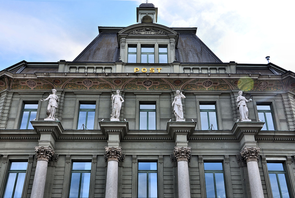 Hauptpost Main Post Office Fa&ccedil;ade in Lucerne, Switzerland<br />