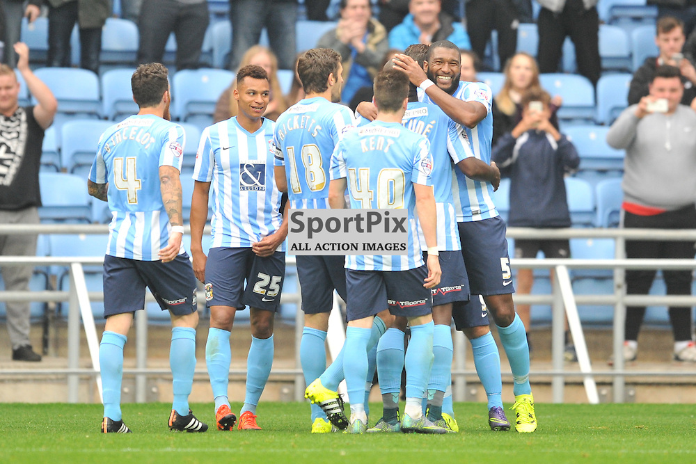 Coventry Celebrate Their Third Goal by Adam Armstrong, Coventry City v Shreswsbury Ricoh Arena, Football League One, Saturday 3rd October 2015