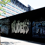 RUDEK' graffiti tag on a wall in Barcelona. Spain 2013