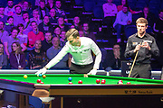 Action from the World Snooker 19.com Scottish Open Final Mark Selby vs Jack Lisowski at the Emirates Arena, Glasgow, Scotland on 15 December 2019.<br /> <br /> Jack Lisowski looks on as the white misses the reds and has to retake the shot from its original position.