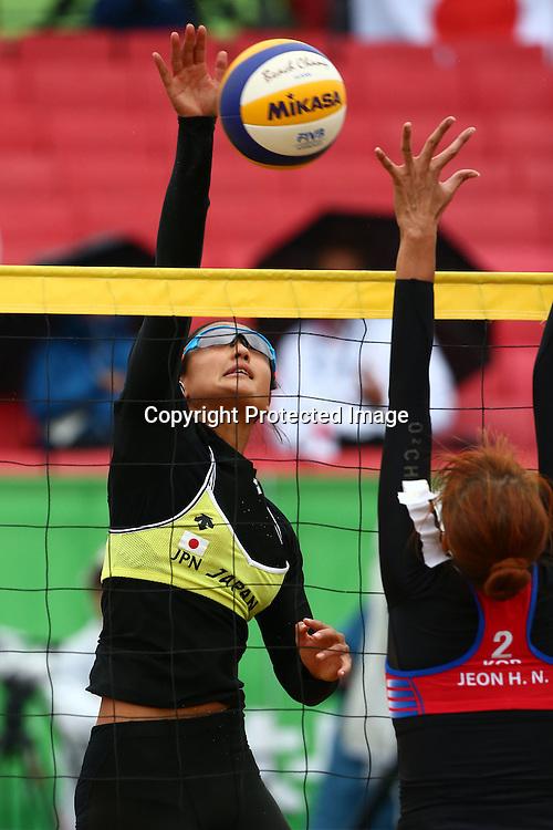 Sakurako Fujii (JPN),<br /> SEPTEMBER 24, 2014 - Beach Volleyball : <br /> Women's Preliminary Round <br /> at Munhak Beach Volleyball Venue <br /> during the 2014 Incheon Asian Games in Incheon, South Korea. <br /> (Photo by Shingo Ito/AFLO SPORT)