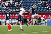 Fiona Brown (#20) of Scotland directs a volley towards goal during the FIFA Women's World Cup UEFA Qualifier match between Scotland Women and Belarus Women at Falkirk Stadium, Falkirk, Scotland on 7 June 2018. Picture by Craig Doyle.