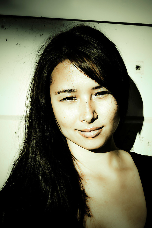 Model/host Aja Dang outside studio in Berkeley, CA.  Copyright 2009 Reid McNally.
